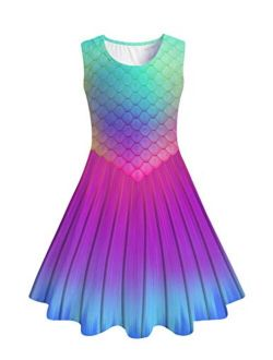 Funnycokid Girls Sleeveless Dress Kids Printed Twirl Party Casual Dresses 4-13 Years