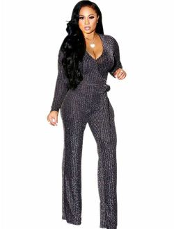 Sparkly Sexy Jumpsuits for Women Elegant Plus Size Clubwear Casual Womens Rompers Wide Leg Pants Long Sleeve
