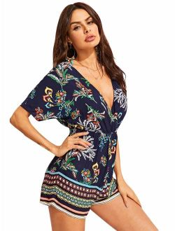 Women's V Neck Floral Print Tie Waist Short Romper Jumpsuit
