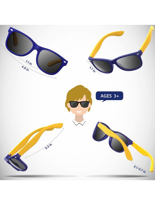 RIVBOS Rubber Kids Polarized Sunglasses with Strap Shades for Boys Girls Baby and Children