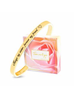 FJ FREDERICK JAMES Sister Gifts from Sister Bracelet - Always My Sister, Forever My Friend - Perfect Sister Birthday idea | Bangle | Jewelry