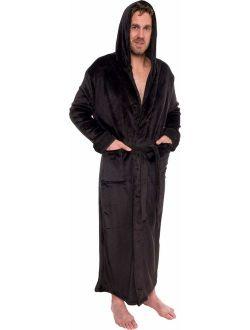 Mens Hooded Long Robe - Full Length Big And Tall Bathrobe
