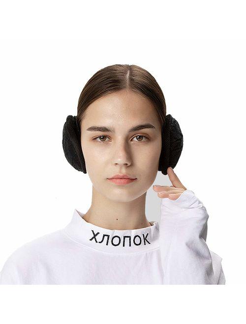 SamiTime Unisex Warm Knit Winter Earmuffs Outdoor Ear Warmer for Women,Foldable Ear Muffs Earflap,Adjustable Wrap