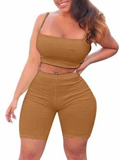 TOB Women's Bodycon 2 Pieces Outfit Spaghetti Strap Crop Tank Top Shorts Pants