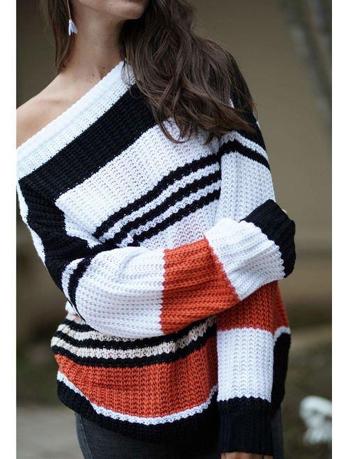 KIRUNDO Women's Strip Color Block Short Sweater Long Sleeves Stitching Color Round Neck Loose Pullovers Jumper Tops