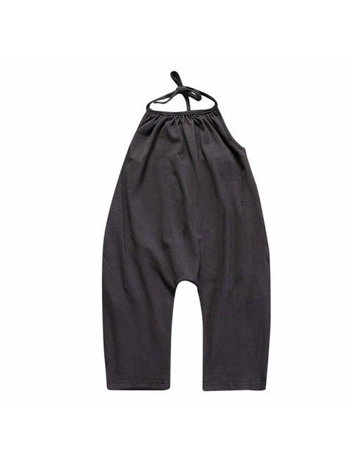 Koi Fish Baby Girls Lovely Summer Jumpsuits for Kids Backless Harem Strap Romper Jumpsuit Toddler Piece Pants Size 2-6Y