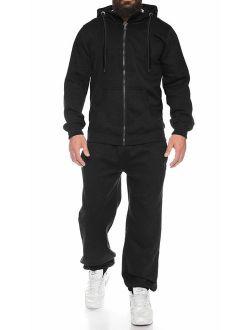 Men Long Sleeve Jogging Suit Zipper Hoodie Tracksuit Sport Set Casual Comfy Sweatsuits With Pockets