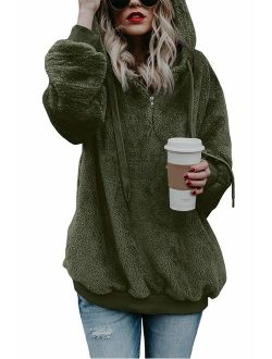 COCOLEGGINGS Women's Sherpa Pullover Fuzzy Fleece Sweatshirt Oversized Hoodies