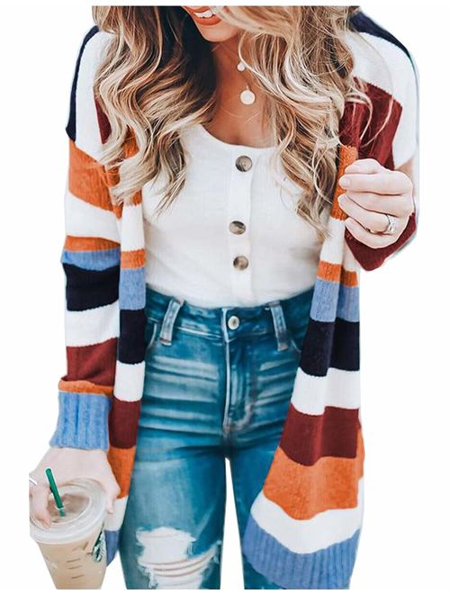 Womens Color Block Striped Cardigan Long Sleeve Open Front