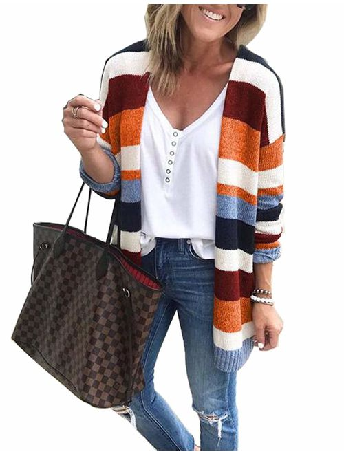Womens Color Block Striped Cardigan Long Sleeve Open Front Knit Sweater Cardigan with Pockets
