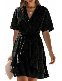 ECOWISH Women V Neck Short Sleeve Polka Dot Floral Pattern A-Line Tie Belt Short Dress with Ruffle Irregular Hem