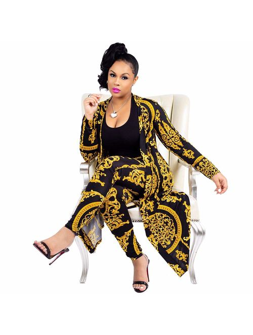 Women 2 Piece Club Outfits Long Sleeve Floral Open Front Cardigan and Pants Set