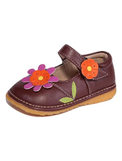 Toddler Shoes | Squeaky Pink, White or Brown Flower Mary Jane Toddler Girl Shoes