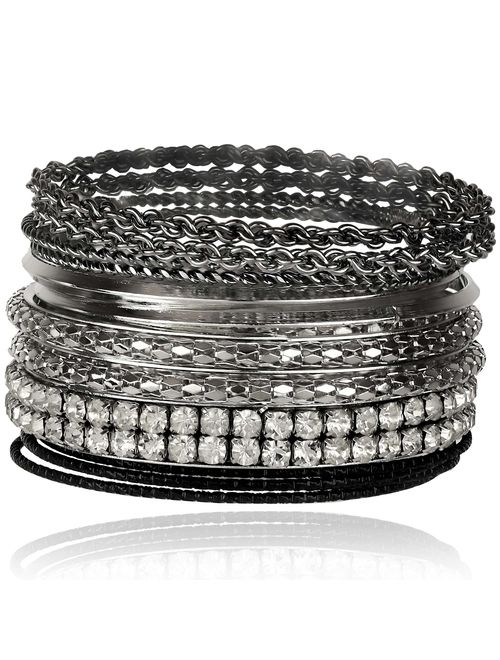 Lux Accessories Xmas Christmas Holiday Gunmetal Pave Bling Skinny Mesh Multi Bracelet Bangle Bracelet Set Chain Textured