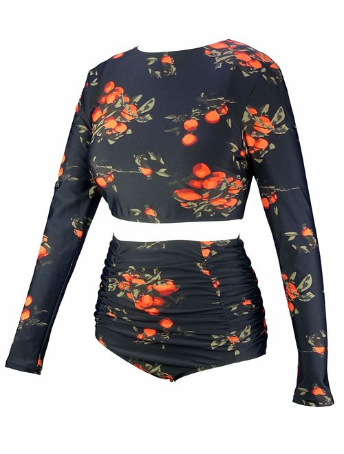 COCOSHIP Women's Long Sleeve Swim Shirt Rash Guard Top Tankinis Set High Waist Bathing Swimsuit(FBA)