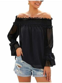 LookbookStore Womens Off Shoulder 3/4 Bell Sleeve Mesh Blouse Tie Knot Loose Top
