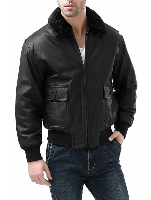 Landing Leathers Men's Navy G-1 Leather Flight Bomber Jacket (Regular and Big and Tall)
