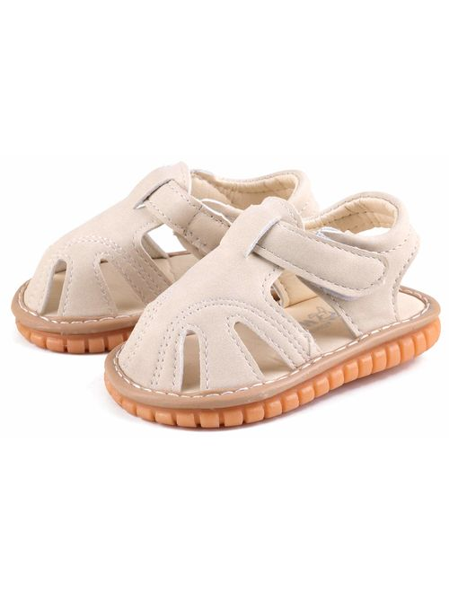 CINDEAR Squeaky Pu Leather Closed-Toe Sandals for Toddler Boy Girl Rubber Sole Anti-Slip Slippers Shoes
