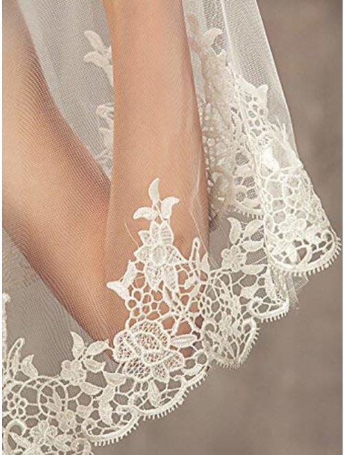 Aukmla Wedding Bridal Veils Beautiful Long Veil with Lace and Metal Comb at the Edge Cathedral Length