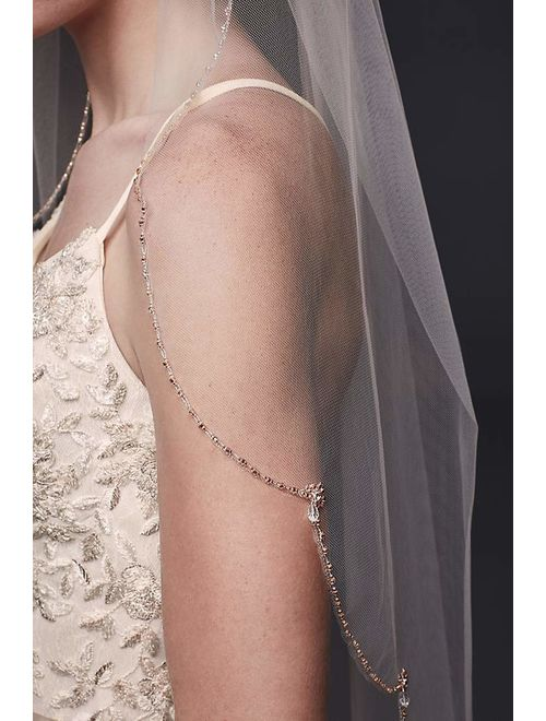 Passat Rose Gold Sparkling Beads Scallop Trimmed Cathedral Wedding Bridal Veil New 137