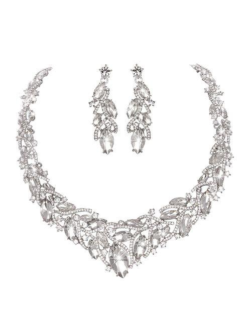 Youfir Women's Elegant Austrian Crystal Necklace and Earrings Jewelry Set for Wedding Dress