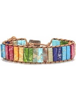 sedmart 7 Chakra Bracelets for Women with Real Stones Leather Wrap Healing Bead Bracelet Women Men Boho Friendship Jewelry