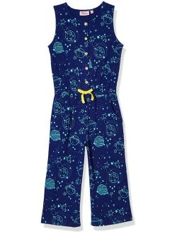 A for Awesome Girls 3/4 Length Wide Leg Printed Sleeveless Cotton Jersey Jumpsuit