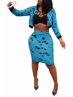 LETSVDO Women's 2 Piece Outfits Long Sleeve Blazer Coat and Bodycon Midi Skirt Set Tracksuit