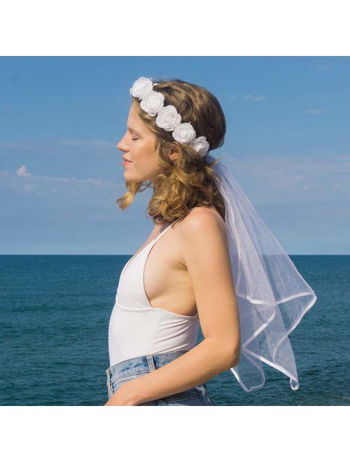 xo, Fetti Bachelorette Party Veil - Boho Flower Crown   Bridal Shower Veil   Bride to Be Gift, Bachelorette Favor + Engagement Decoration