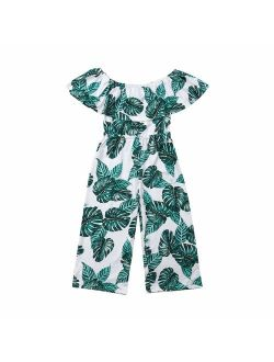 3-8T Little Girl Kids Baby Jumpsuit Outfits Off The Shoulder Ruffle Collar Banana Leaf Long Pants Romper Clothes
