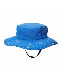 Sun Protection Zone Kids UPF 50+ Safari Sun Hat, Blue Sharks, Uv Sun Protective, Lightweight, Velcro Straps, One Size