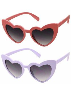 ShadyVEU - Trendy Heart Shaped Love Colorful Baby Girl Toddler Ages 2-6 Yrs. Oversize Kids Sunglasses