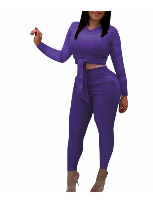Remelon Womens Short Sleeve Ribbed Tie Up Crop Top Pockets Loose Long Pants Set 2 Piece Outfits Jumpsuits