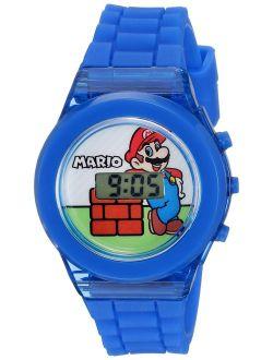 Nintendo Boys' Quartz Watch with Plastic Strap, Blue, 17 (Model: GMA3002)