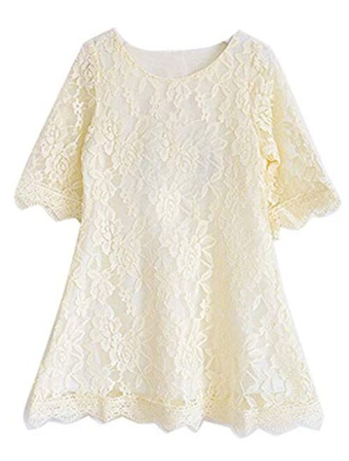 Bow Dream Short Lace Flower Girl Dress with Illusion Sleeves