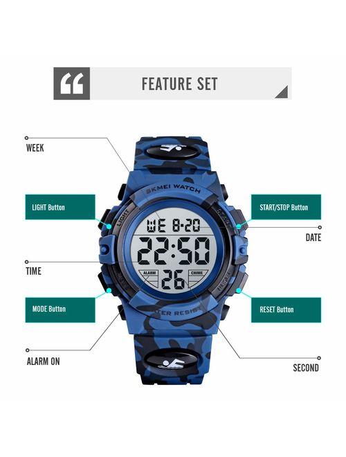 Dodosky Kids Digital Sports Waterproof Led Wrist Watch with Alarm for Boys and Girls