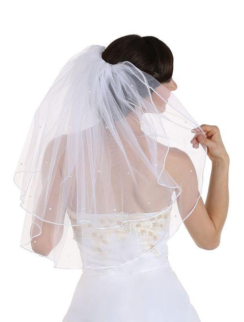 2T 2 Tier Rhinestones Crystal Rattail Edge Bridal Wedding Veil