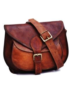 Satchel and Fable Handmade Women Vintage Style Genuine Brown Leather Cross Body Shoulder Bag Handmade Purse