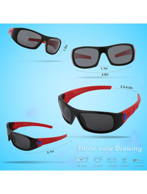 SRK816 SEEKWAY Polarized Kids Sunglasses For Boys Girls Child Rubber Flexible frame Age 3
