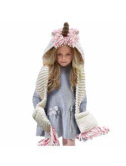 Tacobear Crochet Cartoon Unicorn Winter Hat with Scarf Pocket Hooded Knitting Beanie Cosplay Photography