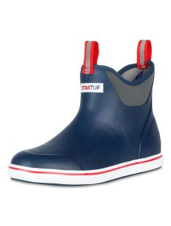 """XTRATUF Performance Series 6"""" Men's Full Rubber Ankle Deck Boots, Navy & Red (22733)"""