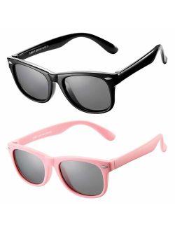AZORB Kids Polarized Sunglasses TPEE Rubber Flexible Frame for Boys Girls