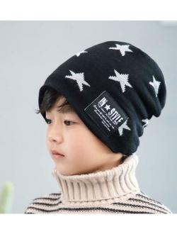 T WILKER 2Pcs Kids Winter Knitted Hats+Scarf Set Warm Fleece Lining Cap