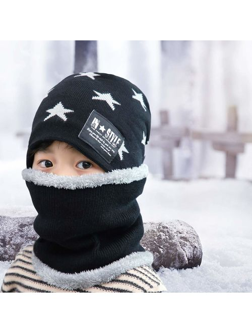 T WILKER 2Pcs Kids Winter Knitted Hats+Scarf Set Warm Fleece Lining Cap