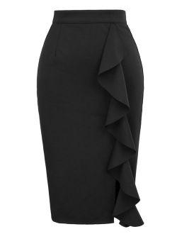 Women's Ruffle Bodycon Knee Length Midi Pencil Skirt