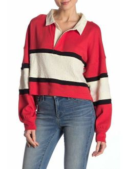 Party Polo Oversized Cropped Long Sleeve Shirt In Red Combo Size Small