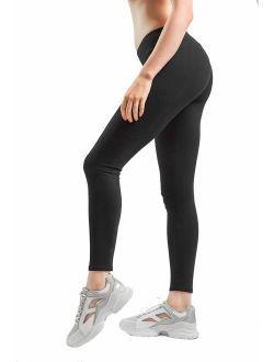 Sheebo Womens Cotton Spandex Basic Full Length Classic Leggings Pants