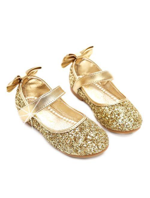 YING LAN Girl Mary Jane Bowknot Slip-on Ballerina Flat Dress Princess Shoes