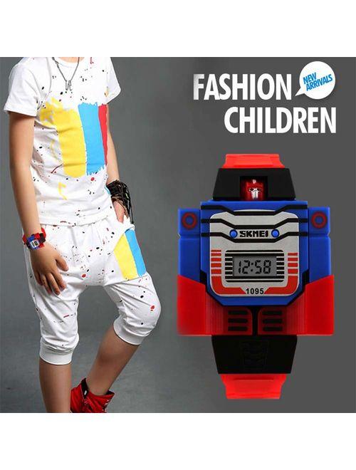 Kids Transformer Watch Robot Transformers Toys Digital Watch, Boys Cartoon Hero Amazing Watches, Girls Electronic Learning Gifts