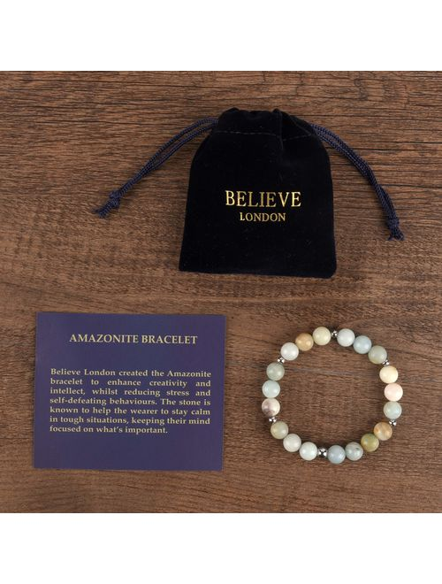Believe London Gemstone Healing Chakra Bracelet Anxiety Crystal Natural Stone Men Women Stress Relief Reiki Yoga Diffuser Semi Precious